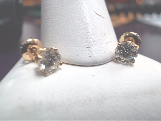 Gold-Diamond Earrings 2 Diamonds .90 Carat T.W. 14K Yellow Gold 0.09g
