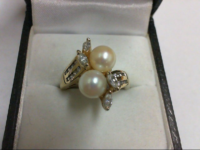 Pearl Lady's Stone Ring 14K Yellow Gold 4.9g