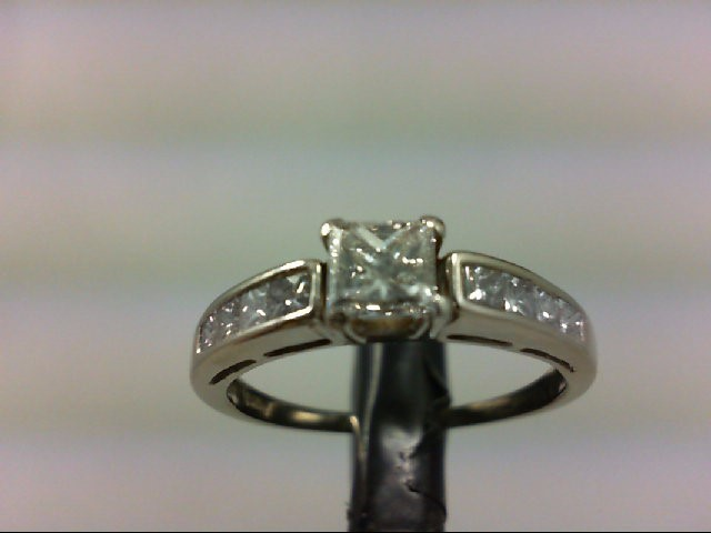 Lady's Diamond Engagement Ring 9 Diamonds 1.00 Carat T.W. 14K White Gold 2.61g