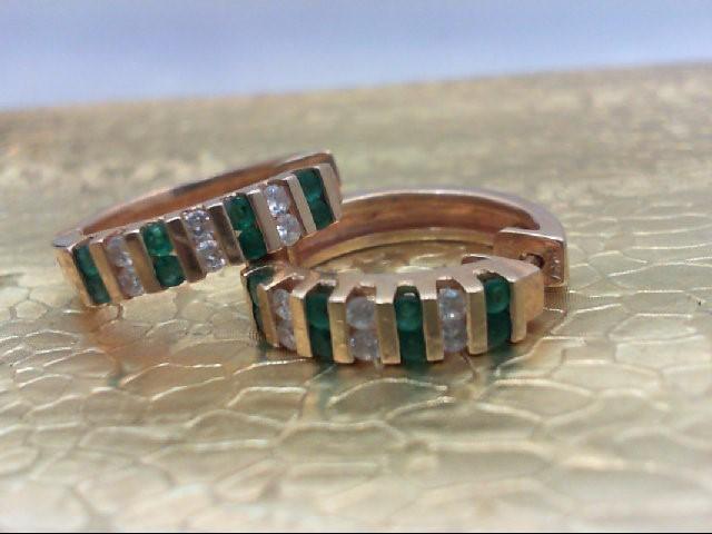 Emerald Gold-Diamond & Stone Earrings 12 Diamonds .36 Carat T.W.