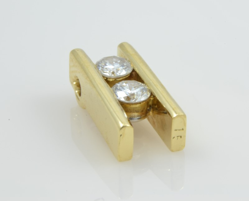 ESTATE DOUBLE DIAMOND PENDANT CHARM SOLID 18K YELLOW GOLD FINE TWIN