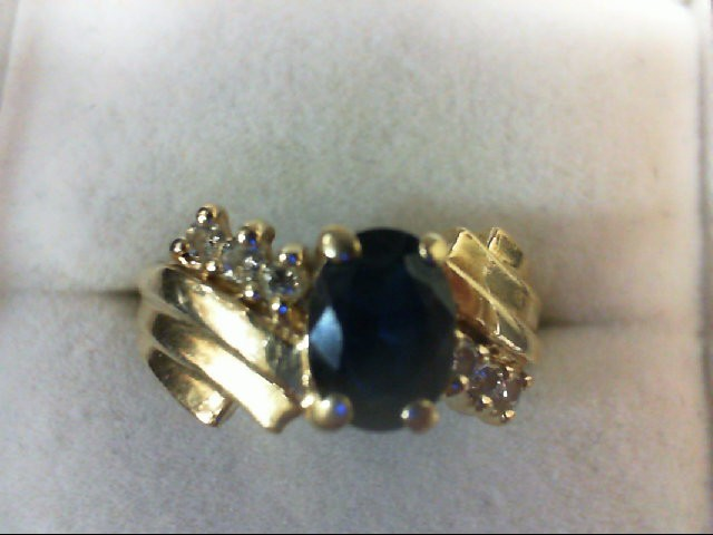 Sapphire Lady's Stone & Diamond Ring 6 Diamonds 0.12 Carat T.W. 14K Yellow Gold