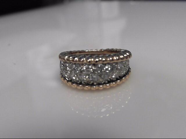 26 Diamonds 1.04 Carat T.W. 14kt Two Tone Pavee Ring 7.4g