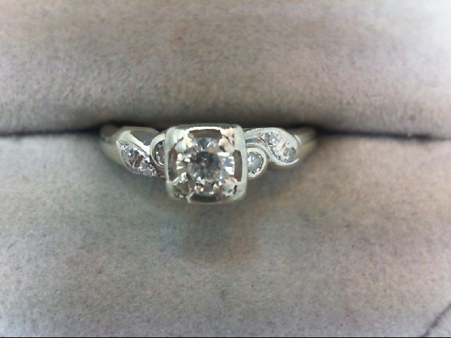 Lady's Diamond Engagement Ring 7 Diamonds .28 Carat T.W. 14K White Gold 2.4g