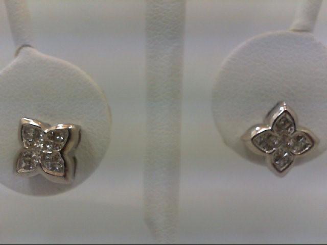 Gold-Diamond Earrings 32 Diamonds 0.64 Carat T.W. 14K White Gold 3g