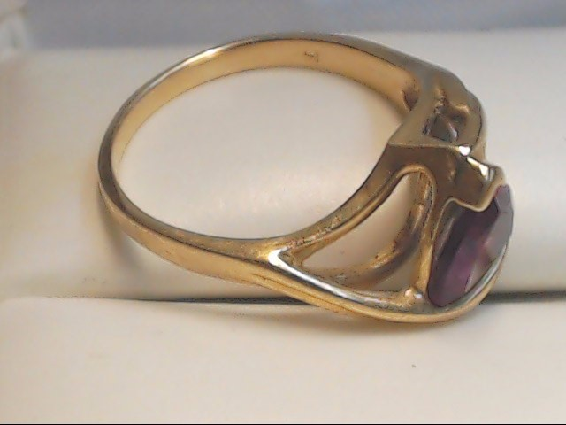 Purple Stone Lady's Stone Ring 14K Yellow Gold 3g Size:5.8