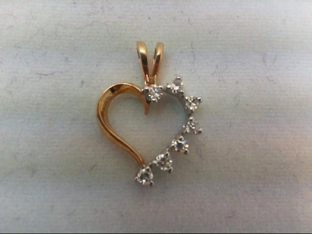 Gold-Multi-Diamond Pendant 7 Diamonds .14 Carat T.W. 14K 2 Tone Gold 0.7g