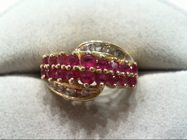 Ruby Lady's Stone & Diamond Ring 8 Diamonds .060 Carat T.W. 14K Yellow Gold