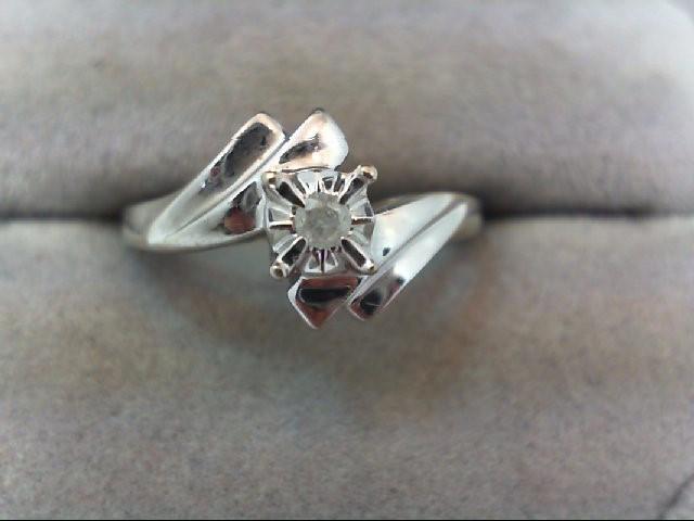 Lady's Diamond Engagement Ring .03 CT. 10K White Gold 2.3g