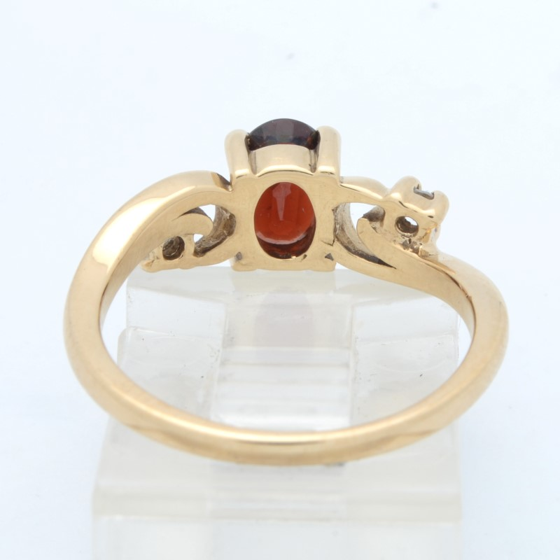 ESTATE GARNET RED DIAMOND RING SOLID 14K GOLD OVAL CUT FINE SIZE 6.5