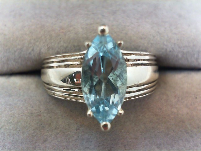 Blue Topaz Lady's Silver & Stone Ring 925 Silver 6.3g