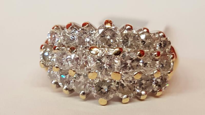 Lady's Diamond Cluster Ring 21 Diamonds 2.31 Carat T.W. 14K Yellow Gold 10.4g