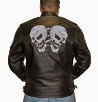 DEALER LEATHER MJ815-11-A XL; LEATHER BIKER STYLE JACKET WITH SKULL, ARMORED, WI