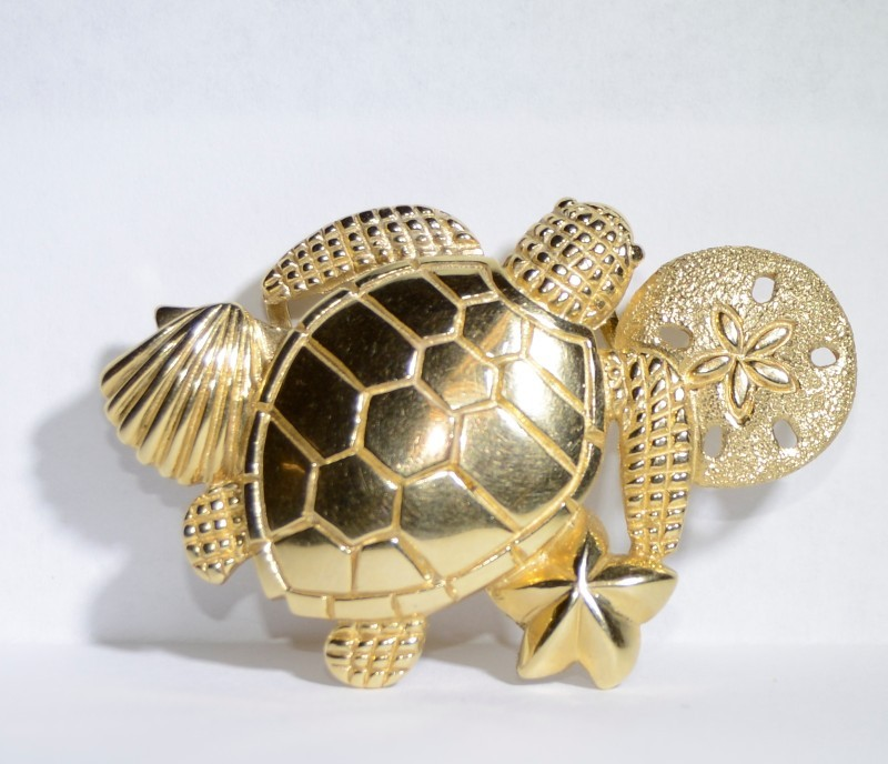 14K Yellow Gold Beach, Sea Turtle, Shell, Sand Dollar, Nautical Slide Pendant