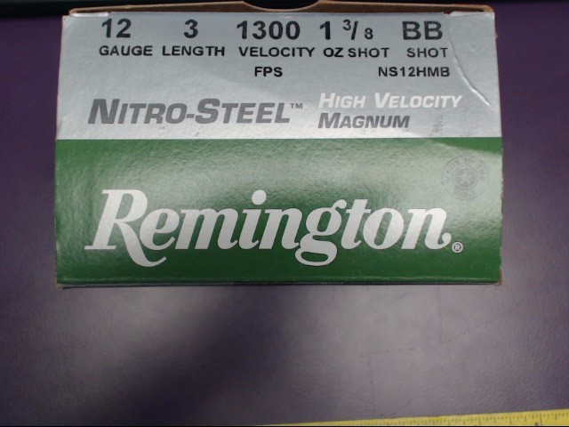 "Remington 12 GA. Nitro-Steel Magnum 3"" BB shot"