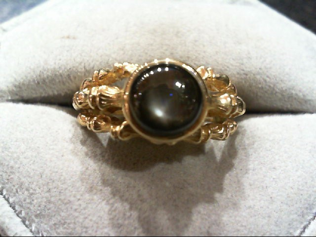 Synthetic Black Star Sapphire Gent's Stone Ring 14K Yellow Gold 6.5g