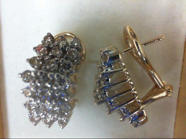 Gold-Diamond Earrings 42 Diamonds 0.84 Carat T.W. 14K Yellow Gold 6.8g