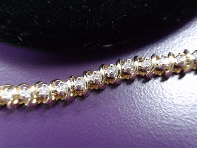 Gold-Diamond Bracelet 55 Diamonds 1.10 Carat T.W. 14K Yellow Gold 12.2g