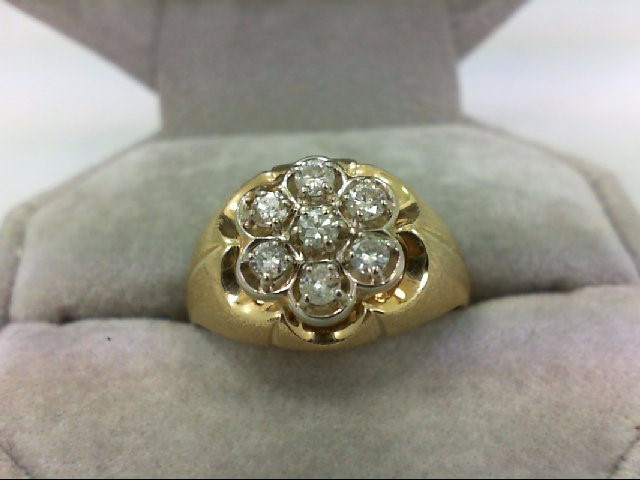 Gent's Diamond Cluster Ring 7 Diamonds 0.35 Carat T.W. 14K Yellow Gold 6.2g Size