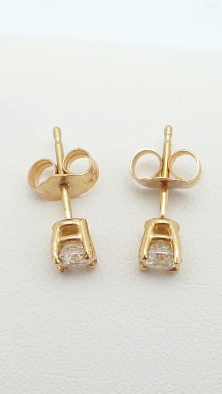 Gold-Diamond Earrings 2 Diamonds .50 Carat T.W. 14K Yellow Gold 0.8g