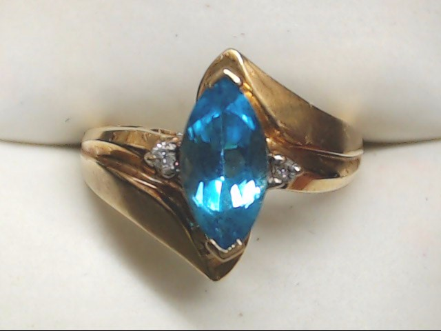 Synthetic Blue Topaz Lady's Stone Ring 10K Yellow Gold 3.6g Size:6