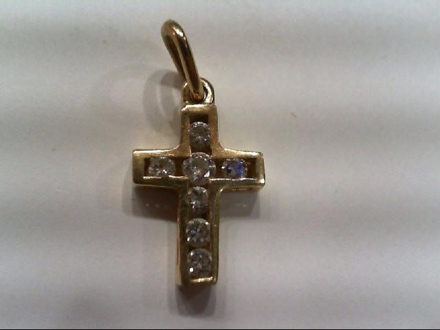 Gold-Multi-Diamond Pendant 7 Diamonds .30 Carat T.W. 14K Yellow Gold 1.1g