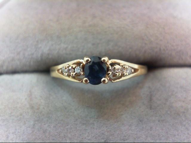 Sapphire Lady's Stone & Diamond Ring 4 Diamonds .04 Carat T.W. 14K Yellow Gold