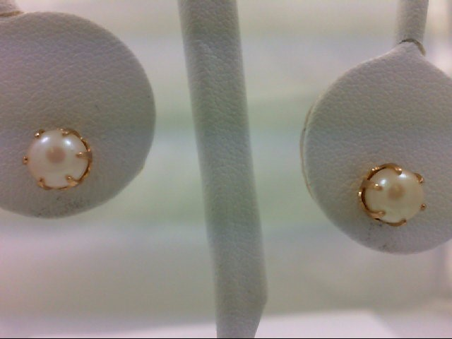 Pearl Gold-Stone Earrings 14K Yellow Gold 1.2g