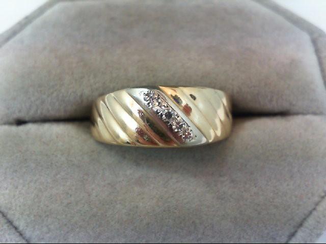 Lady's Diamond Wedding Band 5 Diamonds .15 Carat T.W. 14K 2 Tone Gold 4.1g