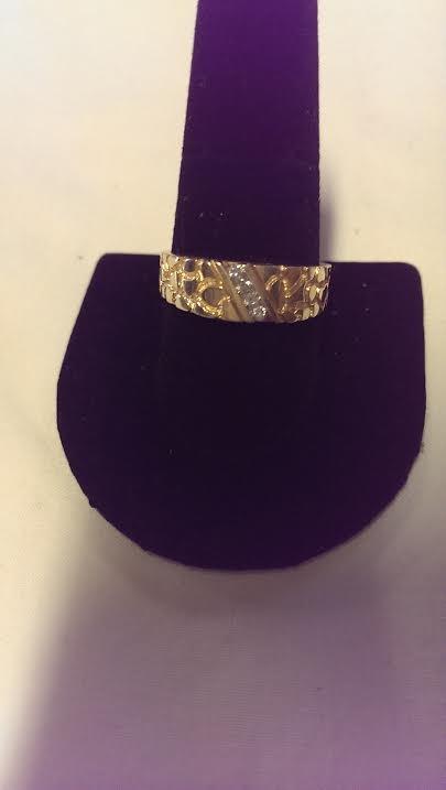 Gent's Diamond Fashion Ring 4 Diamonds .16 Carat T.W. 14K Yellow Gold 3.5dwt
