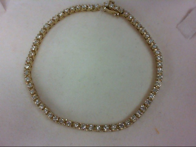 Gold-Diamond Bracelet 60 Diamonds 1.8 Carat T.W. 14K Yellow Gold 9.1g