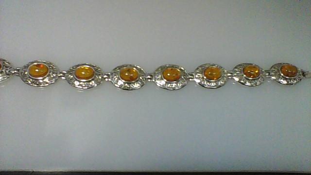Brown Stone Silver-Stone Bracelet 925 Silver 24.31g