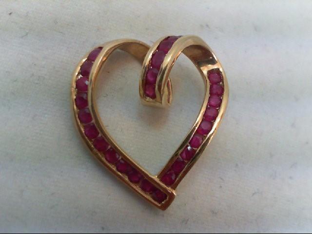 Ruby Gold-Stone Pendant 14K Yellow Gold 2.4g
