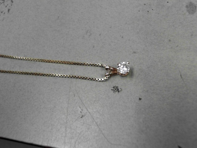 Gold-Diamond Solitaire Pendant .40 CT. 14K Yellow Gold 3.98g