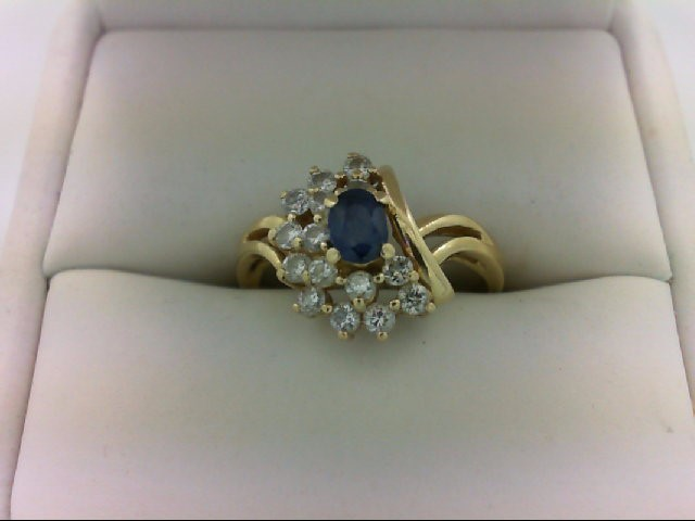 Lady's Stone & Diamond Ring 15 Diamonds 0.54 Carat T.W. 14K Yellow Gold 2.7g Siz