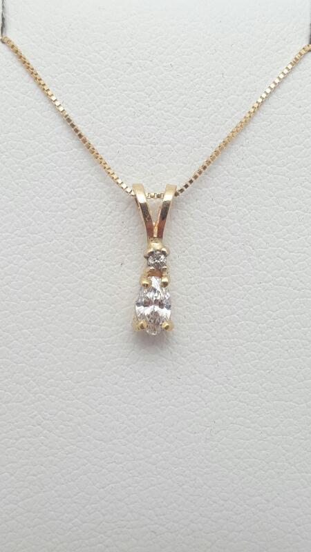 "18"" Diamond Necklace 2 Diamonds .17 Carat T.W. 14K Yellow Gold 1.3g"