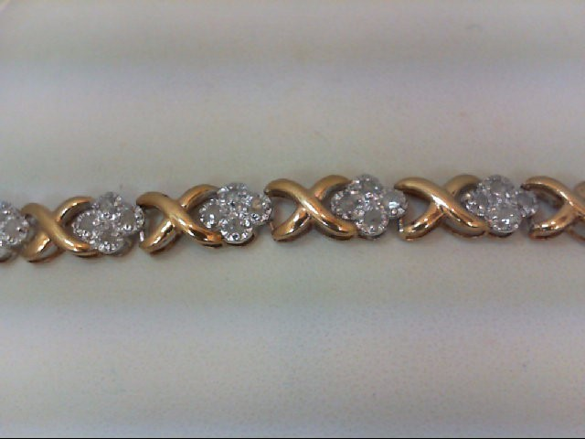 Gold-Diamond Bracelet 40 Diamonds .40 Carat T.W. 14K 2 Tone Gold 6.3g