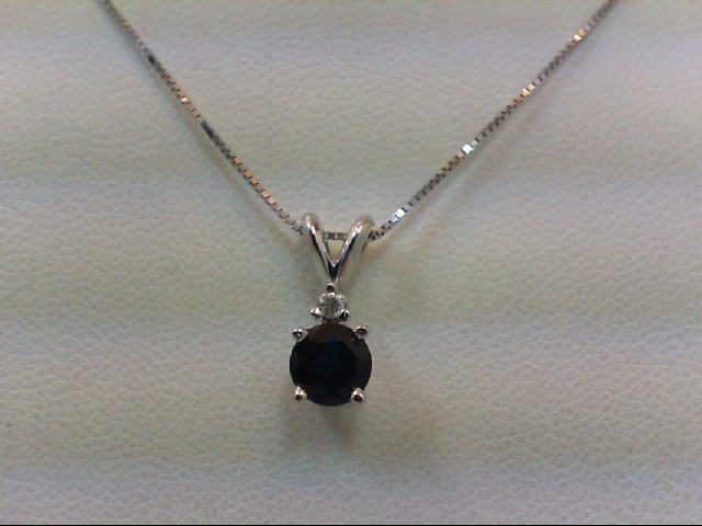 Sapphire Diamond & Stone Necklace .02 CT. 14K White Gold 1.6g