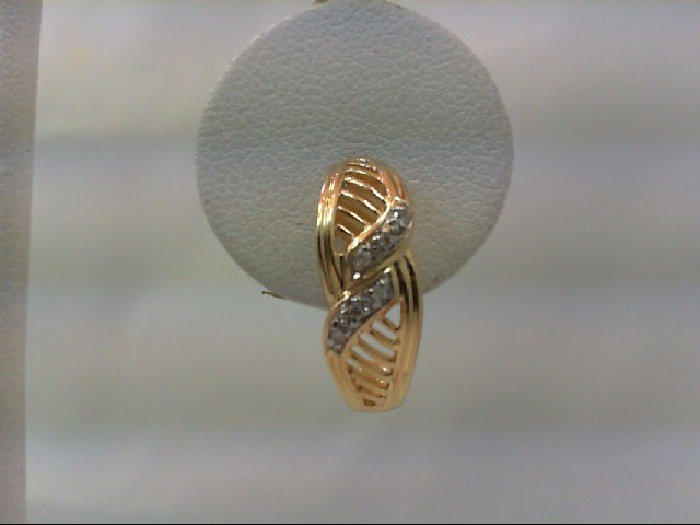 Gold-Diamond Earrings 12 Diamonds .12 Carat T.W. 14K Yellow Gold 3.7g