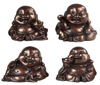 "GEORGE S. CHEN 88176 4PC SET MAITREYA bronze 2"" tall"