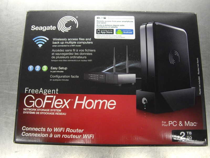 SEAGATE GOFLEX HOME 2TB NETWORK STORAGE SYSTEM W DISC MANUAL & BOX