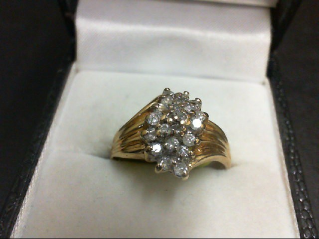 Lady's Diamond Cluster Ring 22 Diamonds 0.44 Carat T.W. 14K Yellow Gold 3.4g
