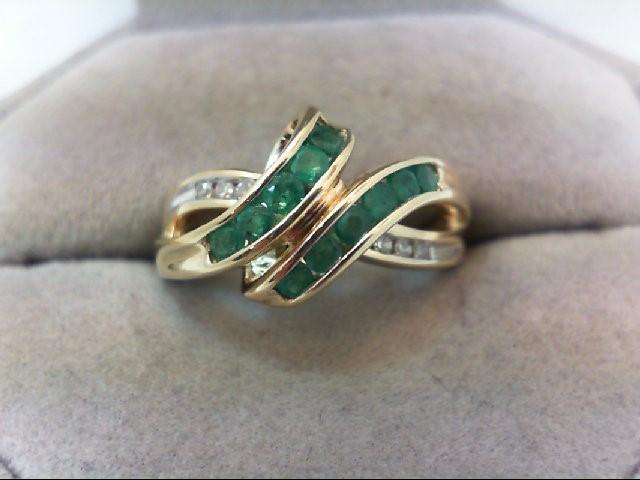 Emerald Lady's Stone & Diamond Ring 6 Diamonds .12 Carat T.W. 10K Yellow Gold