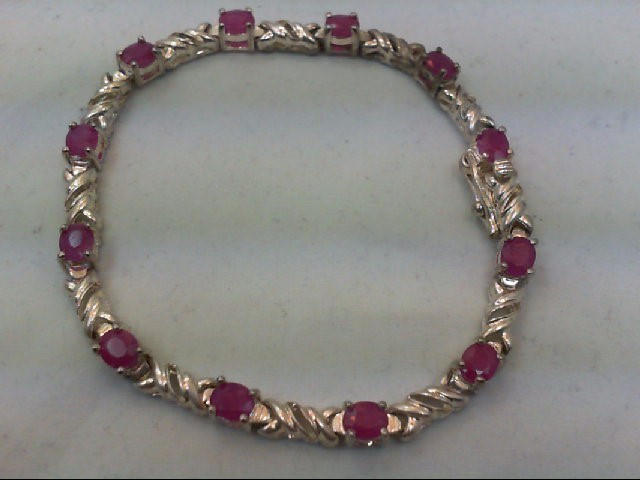 Ruby Silver-Stone Bracelet 925 Silver 13g