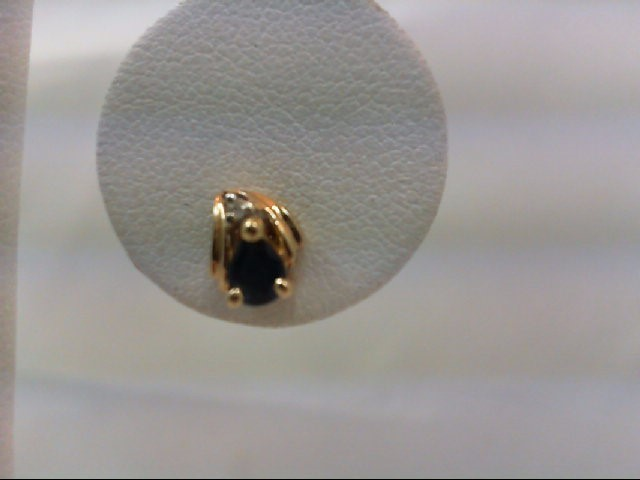 Sapphire Gold-Diamond & Stone Earrings 2 Diamonds .02 Carat T.W. 14K Yellow Gold