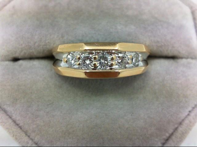 Gent's Gold-Diamond Wedding Band 5 Diamonds 0.4 Carat T.W. 14K Yellow Gold 4.8g