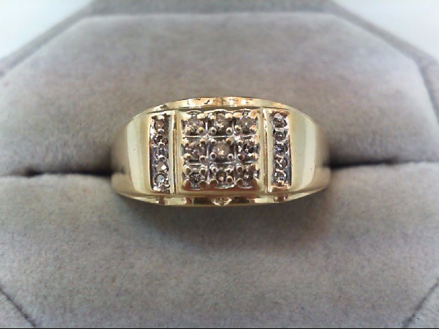 Gent's Diamond Fashion Ring 19 Diamonds .28 Carat T.W. 10K Yellow Gold 3.5g