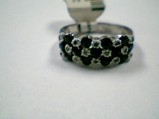 Synthetic Sapphire Lady's Silver-Diamond & Stone Ring