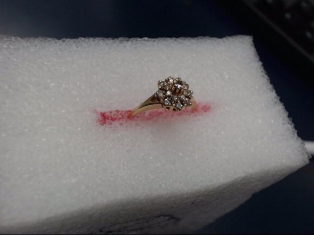 Lady's Diamond Cluster Ring 16 Diamonds .16 Carat T.W. 10K Yellow Gold 1.65dwt