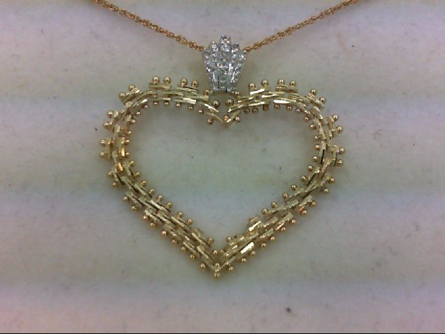 Gold-Multi-Diamond Pendant 10 Diamonds .10 Carat T.W. 14K Yellow Gold 3.4g